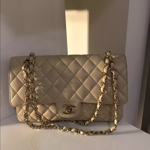 593a2a93812ab4 CHANEL Bags | Sold Classic Ml Beige Caviar Double Flap | Poshmark